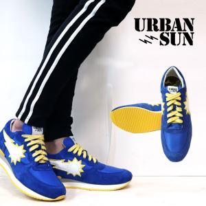 URBAN SUN アーバンサン スニーカー vincent201 ヴィンセント 国内正規品 青 黄色 メンズ|gios-shop