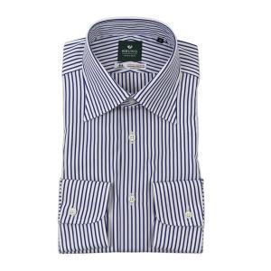BRUNO(ブルーノ) ストライプ柄 セミワイドカラー ブロード シャツ【ネイビー×ホワイト】|giottostile