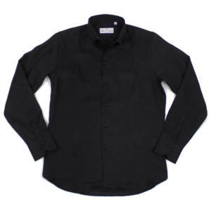 MASSIMO D'AUGUSTO(マッシモ ダウグスト)19SS ボタンダウン オープンカラー リネン シャツ【ブラック】|giottostile