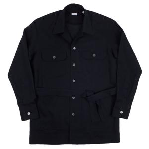 ORIAN(オリアン)19SS「LARMY」リネンコットン サファリ シャツジャケット【ブラック】|giottostile