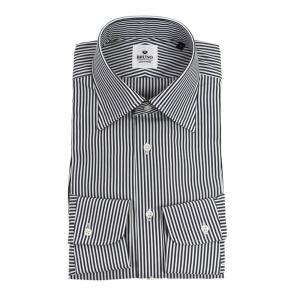 BRUNO(ブルーノ)19SS ストライプ柄 セミワイドカラー コットン ドレス シャツ【ダークグレー×ホワイト】|giottostile