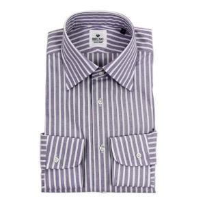 BRUNO(ブルーノ)19SS ストライプ柄 セミワイドカラー コットン ドレス シャツ【パープル×ホワイト】|giottostile