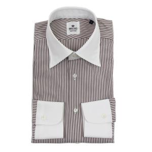 BRUNO(ブルーノ)19SS ストライプ柄 セミワイドカラー コットン ドレス クレリック シャツ【ブラウン×ホワイト】|giottostile