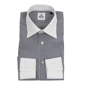 BRUNO(ブルーノ)19SS ストライプ柄 セミワイドカラー コットン ドレス クレリック シャツ【ダークグレー×ホワイト】|giottostile