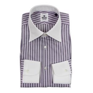 BRUNO(ブルーノ)19SS ストライプ柄 セミワイドカラー コットン ドレス クレリック シャツ【パープル×ホワイト】|giottostile