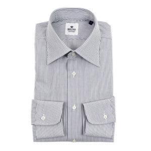 BRUNO(ブルーノ)19SS ストライプ柄 セミワイドカラー シアサッカー ドレス シャツ【ネイビー×ホワイト】|giottostile