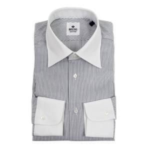 BRUNO(ブルーノ)19SS ストライプ柄 セミワイドカラー シアサッカー ドレス クレリック シャツ【ネイビー×ホワイト】|giottostile