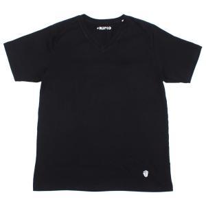 Cento Per Cento(チェントぺルチェント)19SS 「Marco」Vネック 半袖 Tシャツ【ブラック】 giottostile