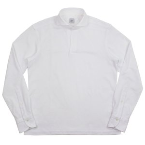 Cento Per Cento(チェントぺルチェント)19SS ロングスリーブ スキッパー ポロシャツ【ホワイト】 giottostile