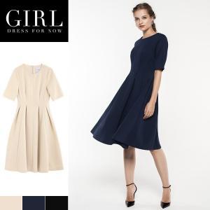 結婚式 ワンピース パーティードレス ドレス 袖あり 大きいサイズ 冬 ゆったり 大きい 秋 秋冬 小さいサイズ ミディアム 30代 40代|girl-k
