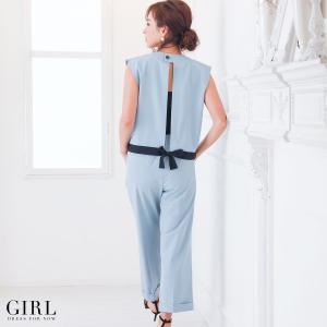 パーティードレス パンツドレス セットアップ レディース 袖なし ノースリーブ リボン girl-k