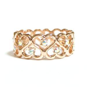 無数のハート 全周 ラブリーなデザイン スワロフスキー オーロラクリア ピンクゴールド リング 指輪 レディース|girlie-style
