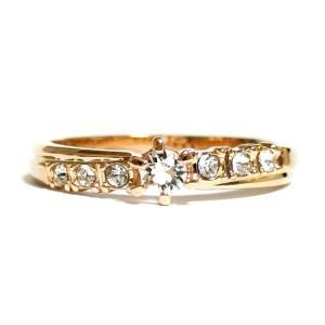 煌びやか 流れるクリスタルライン スワロフスキー ピンクゴールド リング 指輪 レディース|girlie-style