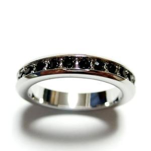 フルエタニティ スワロフスキー ジェット シルバー リング 指輪 ユニセックス 男女兼用 レディース メンズ|girlie-style
