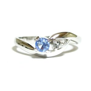 スワロフスキー ピンキー SILVER925 ライトサファイア シルバー リング 指輪 レディース|girlie-style