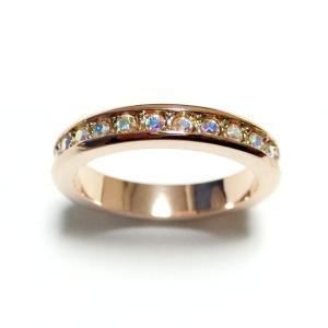 フルエタニティ スワロフスキー オーロラクリア ピンクゴールド リング 指輪 レディース|girlie-style