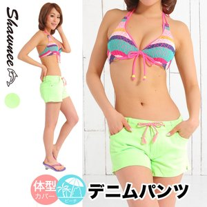 ショートパンツ デニムパンツ [41105]  水着に合わせて夏を盛り上げる♪ ショート丈 の カラーデニム ショートデニム Shawnee|girlsbeach