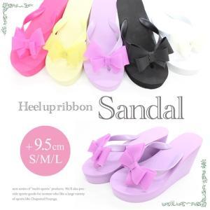 サンダル レディース [hw788] ビーチサンダル 厚底サンダル 9.5cm S/M/L サイズ リボンデザイン ビーチサンダル 美脚サンダル|girlsbeach