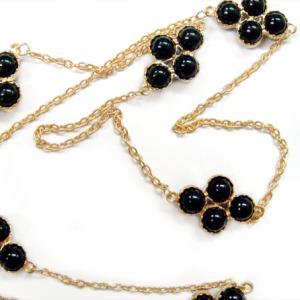 SALE ネックレス レディース ラウンドストーン ダイヤ型 ロングネックレス ホワイト/ブラック ゴールド ネックレス girlseggpetit