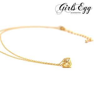 ネックレス レディース キュービックジルコニア使用 ブリリアント ゴールドネックレス ダイヤモンドモチーフ アクセサリー ジュエリー girlseggpetit
