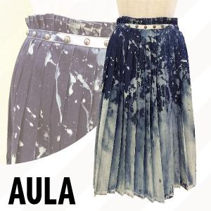 AULA アウラ  デニムプリーツスカート 3172-07077|girlsgirl