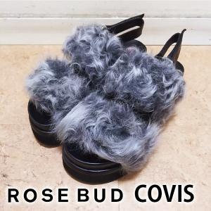 ROSE BUD  COVIS ローズバッド ファーボリュームサンダル(グレー) 601-7257012|girlsgirl