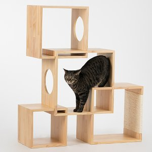 パリ発おしゃれな猫グッズ 天然木キャットタワー 4BOX ■商品サイズ:幅95.5×奥行き30×高さ...