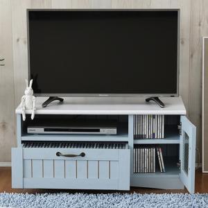 ローボード 白 北欧 アンティーク ホワイト   テレビ台 幅80 フレンチ シックブルー|girlyapartment
