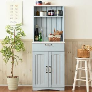 食器棚 白 北欧 アンティーク ホワイト  カップボード 幅60 フレンチ シックブルー girlyapartment