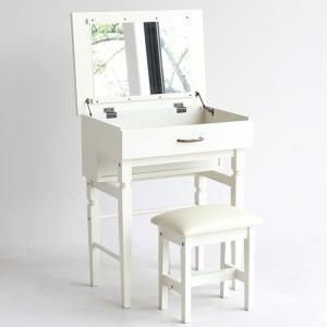 ドレッサー ミラー 一面鏡 スツール セット ホワイト プチファニチャーシリーズ ドレッサー&スツール|girlyapartment