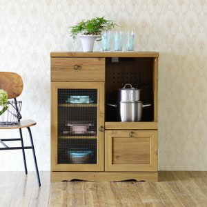 食器棚 スライド棚 収納 炊飯器 かわいい レンジ台 75cm幅 アンティークスタイルファニチャー girlyapartment
