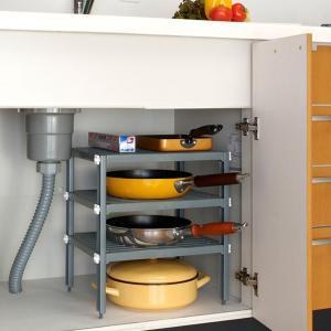 ・シンク下の空間を収納スペースとして使える3段のフリーラックです。・棚の高さは3cm間隔で調節できる...