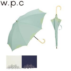 日傘 長傘 レディース フリル 50cm w.p.c TC素材 リトルフラワースカラップ 全3色 81-1689 傘 uvカット おしゃれ コットン 花柄 フラワー 通勤