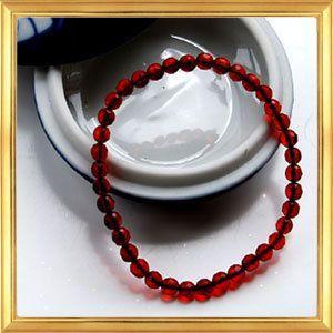 レッドアンバーカットボールブレスレット リトアニア産|giyaman-jewellery