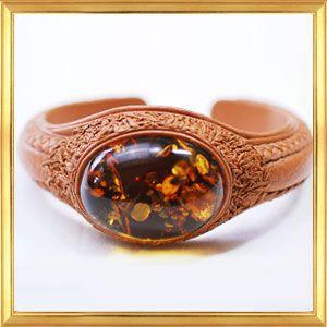 世界に一つだけのブレスレット 大きな美しい琥珀の天然革ブレスレット B|giyaman-jewellery