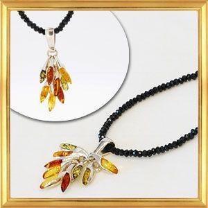 ネックレス ブラックスピネル&アンバートップ giyaman-jewellery