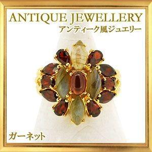 碌山 天然石 ガーネット ラブラドライト リング|giyaman-jewellery