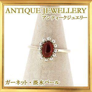 碌山 天然石 ガーネット 淡水パール リング|giyaman-jewellery