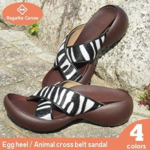 リゲッタカヌー サンダル レディース 厚底 エッグヒール アニマル 柄 ビッグ クロス ベルト sandal|gjweb