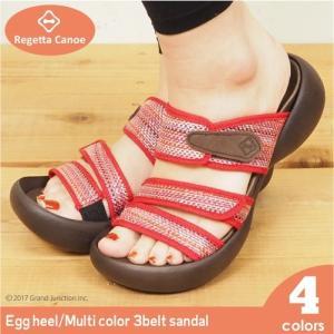 リゲッタカヌー サンダル レディース 厚底 エッグヒール マルチカラー ベルト ベルクロ sandal|gjweb