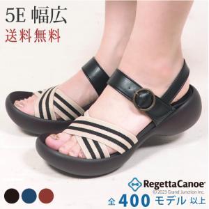 リゲッタカヌー サンダル レディース 厚底 エッグヒール 幅広 4E 5E ゴム ベルト sandal|gjweb