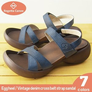 リゲッタカヌー サンダル レディース 履きやすい 厚底 エッグヒール デニム 調 ベルクロ sandal|gjweb