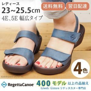 リゲッタカヌー サンダル レディース ウェッジソール おしゃれ 4E 5E デニム 調 ベルクロ sandal|gjweb