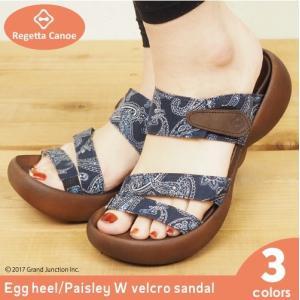 リゲッタ カヌー サンダル レディース 履きやすい 厚底 エッグヒール ペイズリー ベルクロ sandal|gjweb