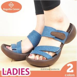 リゲッタ カヌー サンダル レディース 履きやすい 厚底 エッグヒール デニム マジックテープ 3本 ベルト sandal|gjweb