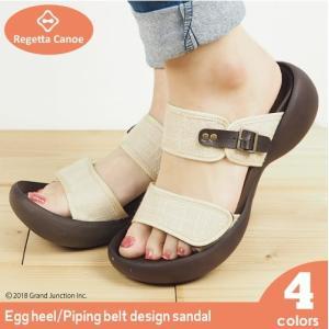 リゲッタ カヌー サンダル レディース 履きやすい 厚底 エッグヒール 麻 つっかけ マジックテープ sandal|gjweb