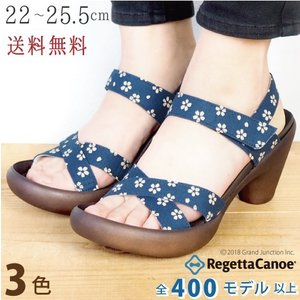 リゲッタ カヌー サンダル レディース  和柄 桜 履きやすい 7cm バナナ ヒール sandal...