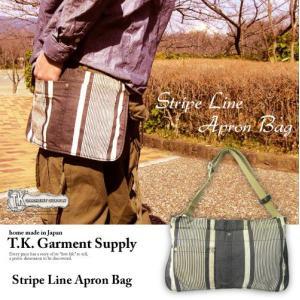 ウエストバッグ メンズ レディース TK.Garment Supply ストライプエプロンバッグ ベッドシーツ ビンテージリメイク ハンドメイド日本製 gjweb