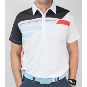 スライゴ Sligo ポロシャツ ROBINSON ホワイト/ディープオレンジ|gkgolf