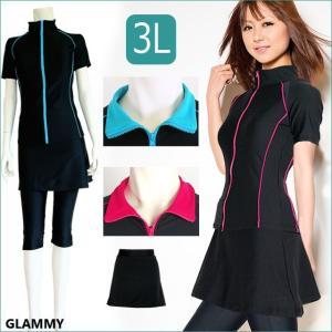 フィットネス水着 レディース セパレート 大きいサイズあり スカート付き3点セット 半袖 ハイネック 襟付き 体型カバー 3Lのみ COM2|glammy-store